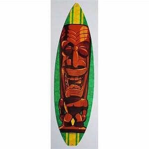 Planche Surf Deco : plaque tole paisse tiki bois planche de surf deco loft dine achat vente objet d coration ~ Teatrodelosmanantiales.com Idées de Décoration