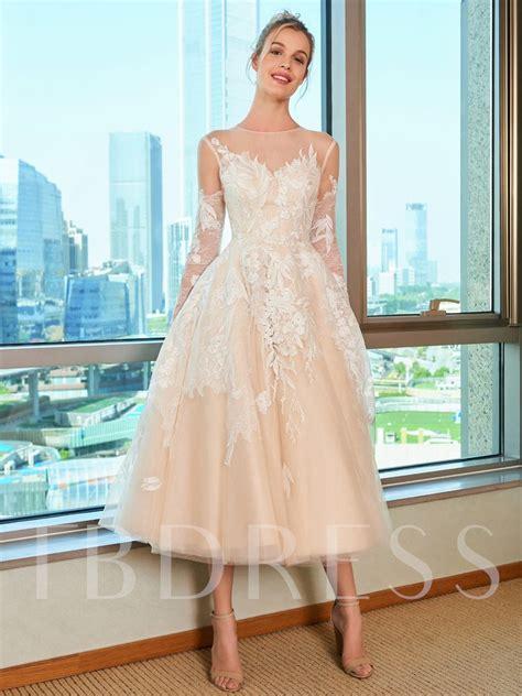 lace tea length beach wedding dress  long sleeve