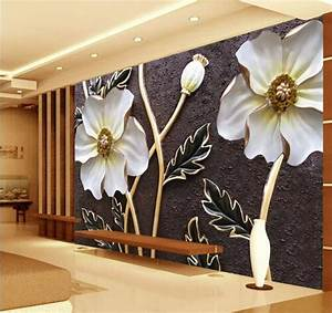 Embossed White floral Wallpaper for walls 3 d Large Photo ...
