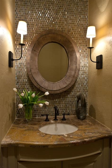 Antique Gold Faucets by Elegant Half Bathroom