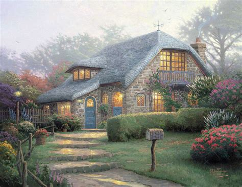 kinkade cottage painting cottages