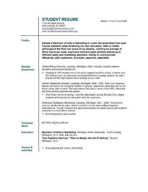 15872 current resume templates resume template for current college student free sle