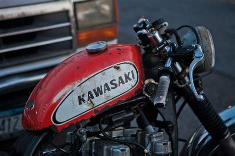 Small, Weathered Kawasaki Dirt Bike Gas Tank On A Kz-based