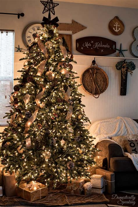 rustic christmas tree decorations rustic luxe christmas tree 12 bloggers of christmas with balsam hill domestically speaking