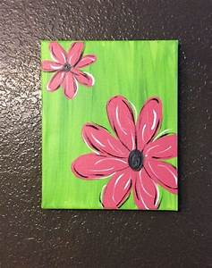 Pink or Purple Flower Canvas Painting on Etsy, $18.00 ...