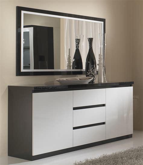 meuble cuisine promo bahut 2 portes 3 tiroirs roma laqué bicolore noir blanc