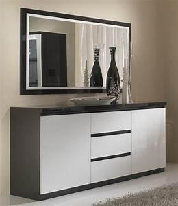 Bahut 2 portes 3 tiroirs roma laque bicolore noir blanc for Meuble salle À manger avec buffet salle a manger noir et blanc