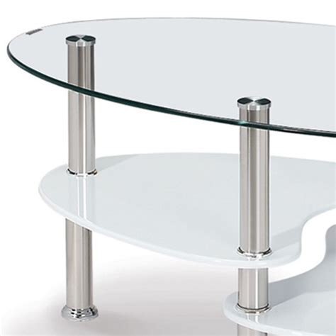 deco in table basse blanche en verre trempe ovale