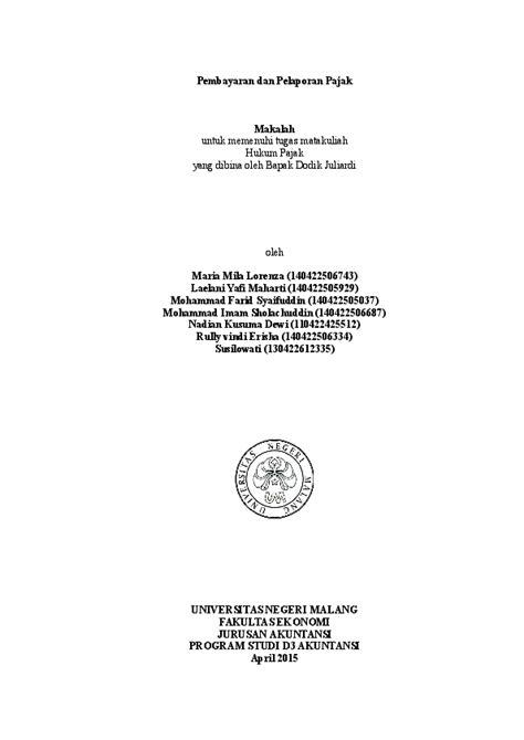 (DOC) Pembayaran dan Pelaporan Pajak | lily vindi