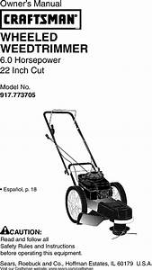 Craftsman 917773705 User Manual High Wheel Weed Trimmer Manuals And Guides L0306350