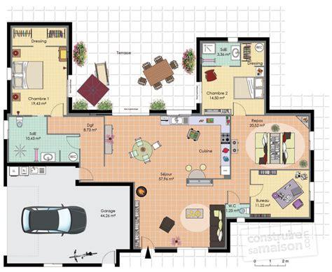 plan maison plain pied 2 chambres maison de plain pied 2 dé du plan de maison de plain