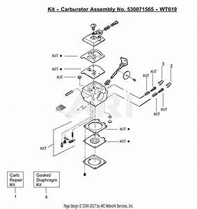 Poulan Pp331 Gas Trimmer  331 Gas Trimmer Parts Diagram For Carburetor Assembly  Wt619  P  N