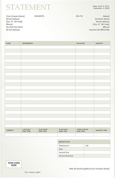 billing statement billing statement 2012 template sle