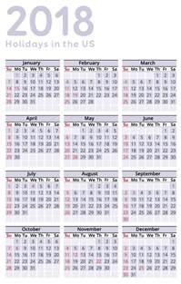 2018 US Calendar