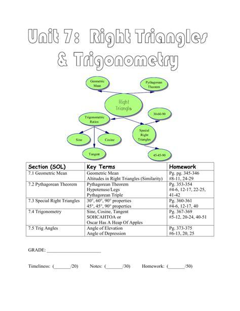 Right triangles & trigonometry homework 7: Chapter 7: Right Triangles & Trigonometry