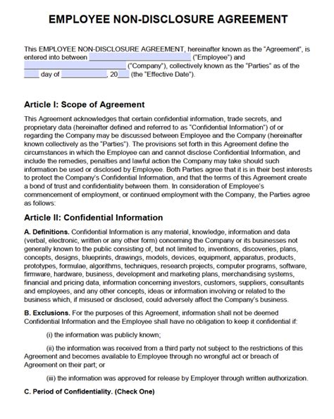 nondisclosure agreement sample  main group