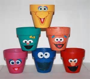 Sesame Street Clay Flower Pot Craft Ideas