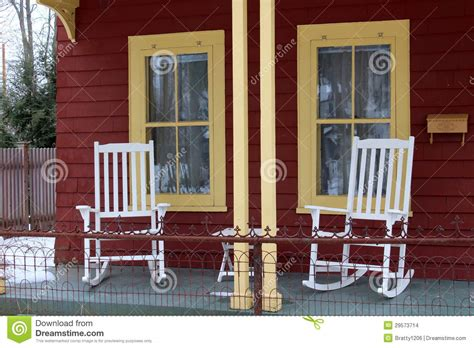 white rocking chairs on front porch stock images image