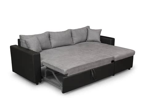 canapé d 39 angle réversible et convertible avec coffre gris