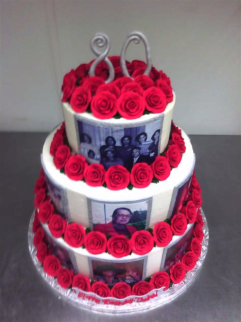 Rosey 80th Birthday Photo Cake  Main Made Custom Cakes
