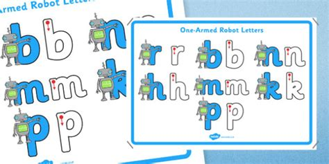 armed robot letters formation display poster letter