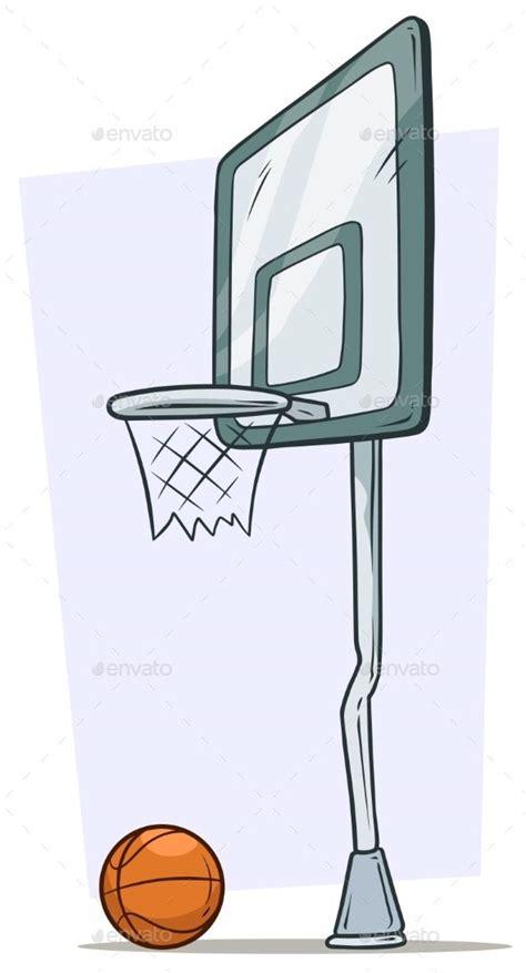 cartoon street basketball hoop  orange ball basketball