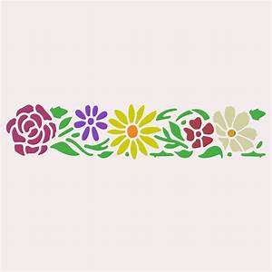 Pretty Flowers Border Stencil | Wall Stencil | Furniture ...