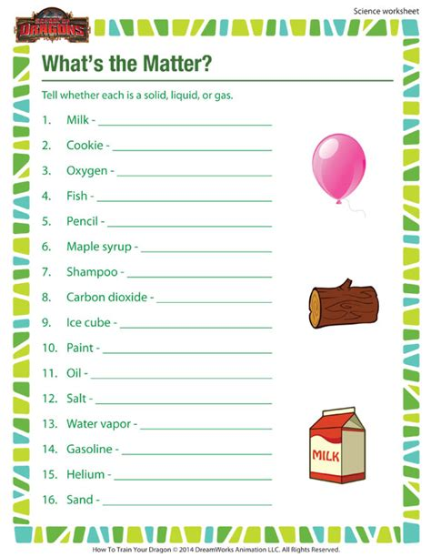 what s the matter worksheet 3rd grade science worksheet