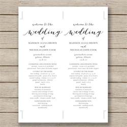 printable wedding program fans wedding program template 61 free word pdf psd