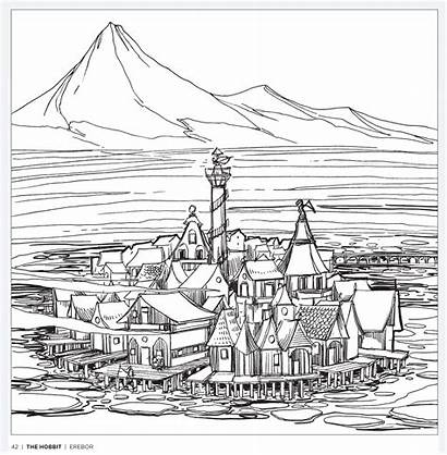 Hobbit Colouring Coloring Pages Tolkien Adult Pattern