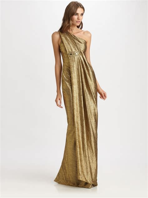 notte  marchesa lame gown  gold lyst