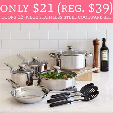 hot   regular  cooks  piece stainless steel cookware set deal hunting babe