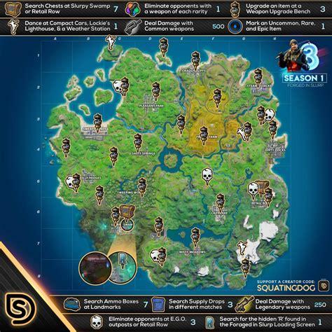 fortnite forged  slurp cheat sheet map locations