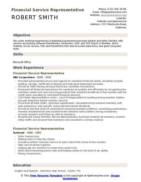 Financial Service Representative Resume by Financial Service Representative Resume Sles Qwikresume