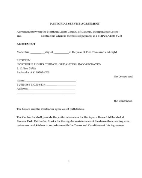 janitorial contract template fillable printable