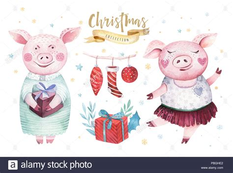 Watercolor Cute Pig Symbol 2019 Illustration. Isolated