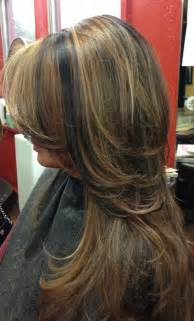 Dark Hair with Carmel Highlights