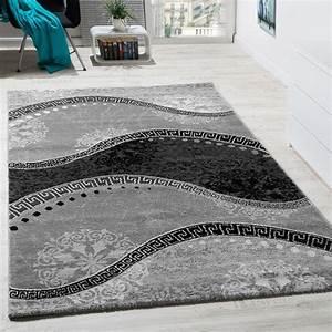 designer teppich mit glitzergarn wellen ornamente With balkon teppich mit tapete grau ornament