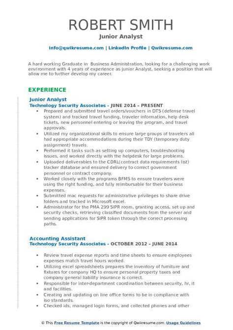 Junior Business Analyst Resume by Junior Analyst Resume Sles Qwikresume