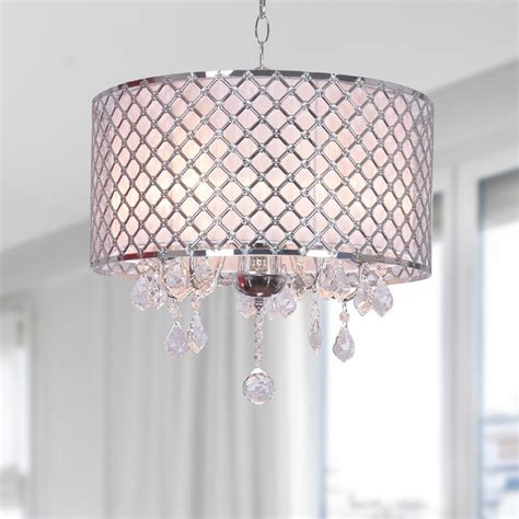 chrome finish drum shade chandelier