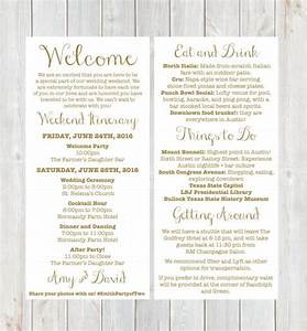 welcome letter weekend itinerary wedding itinerary gold With when to send out wedding invitations for holiday weekend