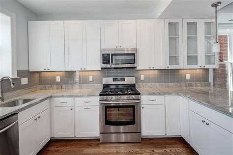 white kitchen subway tile backsplash best kitchen backsplashes with white cabinets railing