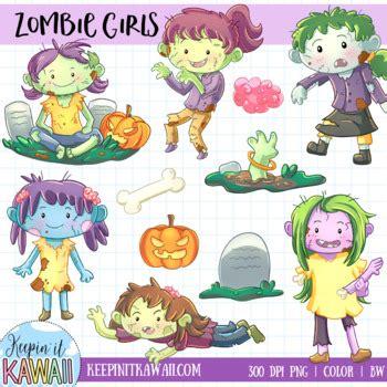 zombie girls clip art set  keepinitkawaii teachers pay