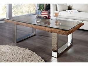 Table Ronde Verre Et Bois : table basse plateau bois table basse ronde verre et metal maisonjoffrois ~ Teatrodelosmanantiales.com Idées de Décoration