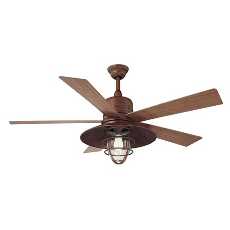outdoor ceiling fans with led lights hton bay metro 54 in indoor outdoor rustic copper