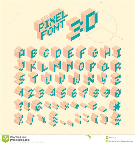 Isometric Pixel Font, Vector Letters, Alphabet Stock