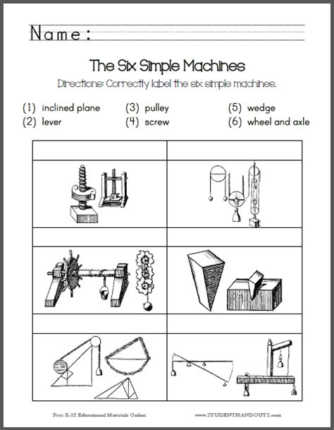 Identify The Six Simple Machines  Free Printable Worksheet For Lower Elementary Science