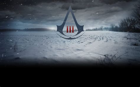 full hd wallpaper assassins creed logo snowfall field