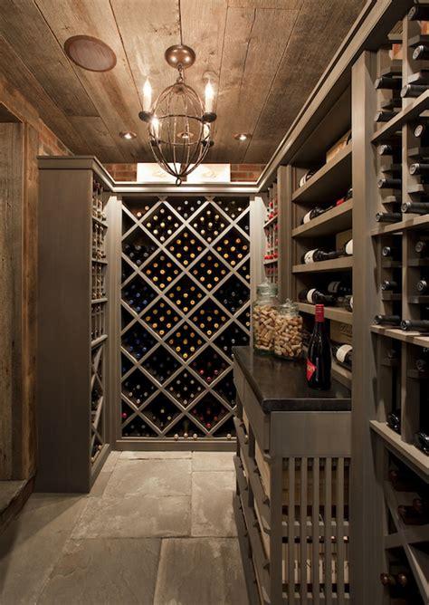 Basement With Rustic Wine Cellar  Cottage Basement