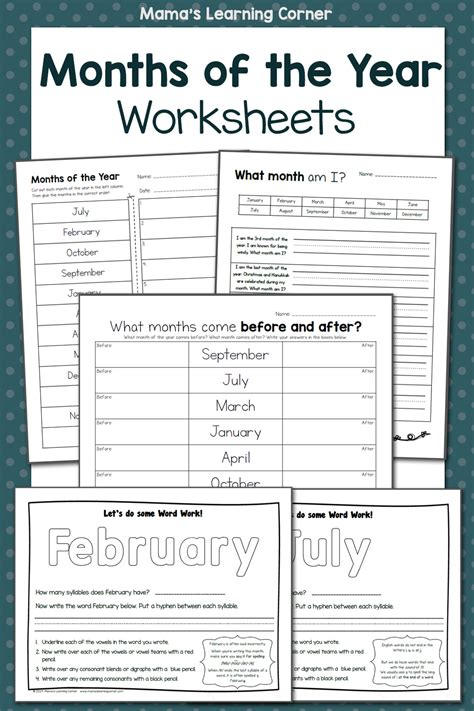 months   year worksheets mamas learning corner